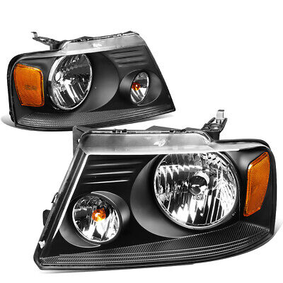 $67.88 • Buy Fit 2004-2008 Ford F150 Pickup Pair Black Housing Amber Side Headlight/Lamp Set