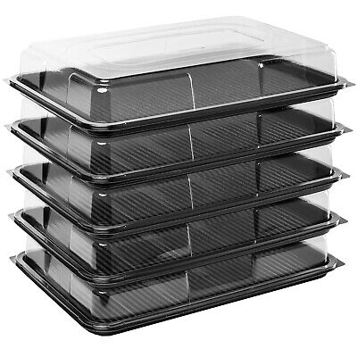 5 X Black Large Rectangular Sandwich Platters + Clear Lids Cakes Buffets Party • 12.79£