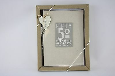 East Of India Linen 50th 50 Is The New 60 Birthday Photo Album Boxed Shabby Chic • 14.99£