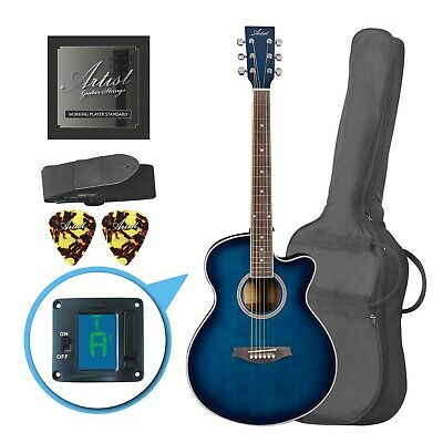 AU169 • Buy Artist LSPSTBB Beginner Acoustic Guitar Pack With Small Body - Blue - New