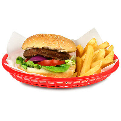 £21.99 • Buy Classic Oval Food Baskets Red 24cm - Set Of 36 | Basket For Burger And Fries