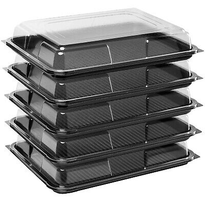5 X Black Medium Rectangular Sandwich Platters + Clear Lids Cakes Buffets Party • 9.96£