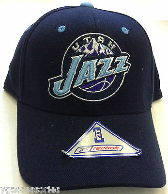996c98a24ae NBA Utah Jazz Reebok Flex Fit Vintage Hat Cap One Size Fits All - NEW •