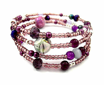 Memory Wire Bracelet Jewellery Making Kit Purple/Mauve With Instructions K0033L • 2.79£