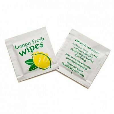 1000 X Lemon Scented Handy Hand Wipes Moist Wet Wipe Individual Wrapped Takeaway • 17.49£