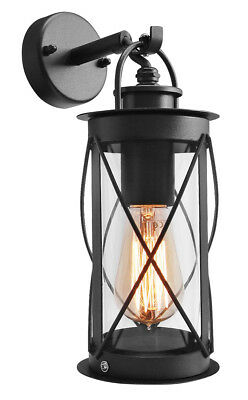 Outdoor Garden Wall Lantern Light Black Metal With Glass Down Wall Lantern ZLC14 • 21.99£