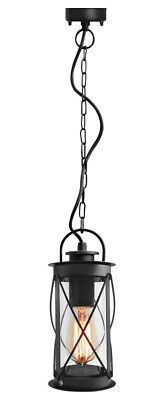 Outdoor Hanging Lantern Light Black Metal Clear Cover With Chain And Fixings 013 • 17.99£