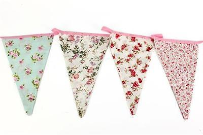 £6.99 • Buy Vintage Floral Fabric Bunting Shabby Chic Party Weddings Girls Bedroom 12 Flags