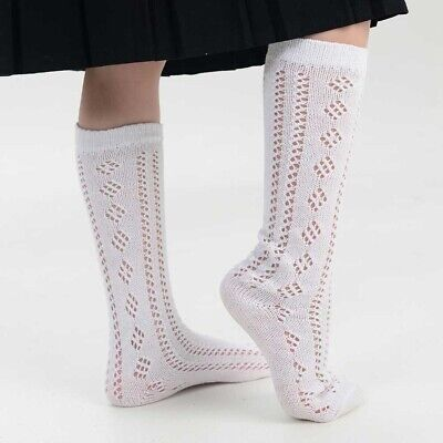 New 3 Pairs Girls White Pelerines Socks Long Back To School Pelerine Knee High • 3.97£
