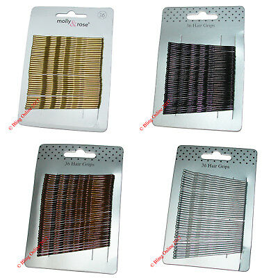 36pc LONG LARGE 6.5cm HAIR GRIPS CLIPS BOBBY WAVED PINS BLACK BROWN SILVER GOLD. • 1.95£