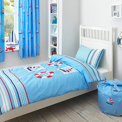 Nautical Boys Blue Sail Boat Stripe Check Boys Duvet Quilt Cover 100% Cotton • 16.95£