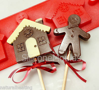 4 Cell GINGERBREAD MAN MEN HOUSE Silicone Chocolate Mould Lolly Resin Wax Soap • 4.99£