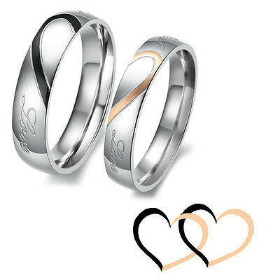 £1.99 • Buy Lovers Rings Couple Heart Shape Matching Stainless Steel Promise Wedding Bands