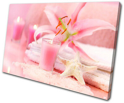 Bathroom Pink Candles Floral SINGLE CANVAS WALL ART Picture Print VA • 19.99£