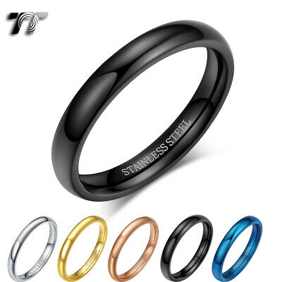 AU9.99 • Buy Glossy TT 2mm Slim S.Steel Band Pinky Ring Size 2-11 5 Colours (R345)  NEW