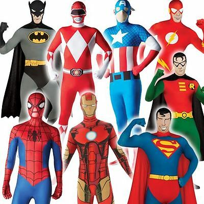Mens 2nd Skin Superhero Full Body Suit Bodysuit Fancy Dress Costume Adult Outfit • 9.98£