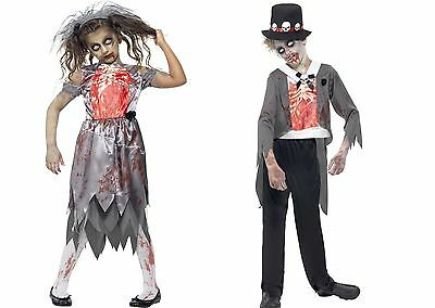 Fancy Dress Halloween Kids Childs Zombie Bride Groom Boys Girls Fits Ages 7-15 • 12.05£