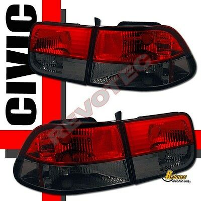 $76 • Buy Red Smoke Tail Lights 1 Pair For 96-00 Honda Civic 2Dr Coupe HX DX EX Si