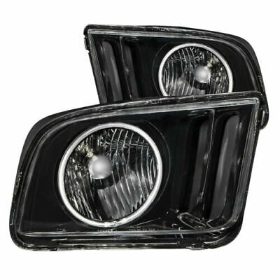 $264.20 • Buy Anzo 121033 Black Clear Lens Crystal Headlights With Halo For 05-09 Ford Mustang
