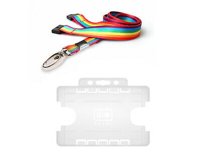 ID Card Pass Badge Holder & ID Soft Neck Lanyard Strap - TWO Sided NHS RAINBOW • 2.99£