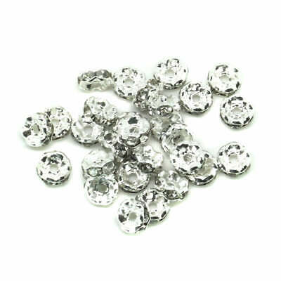 30 Clear Rhinestone Rondelle 5mm Spacer Beads Wavy Silver Plated J00509A • 3.29£