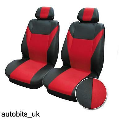 Car Seat Covers Front Van Motorhome Bus Mpv Truck Red Black Universal Fabric   • 12.99£