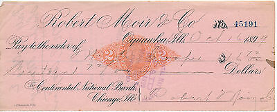 $ CDN29.98 • Buy 1899 Revenue Stamped Paper Check Robert Moir Oquawka Illinois