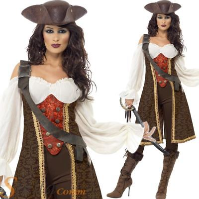 Ladies Deluxe Pirate Costume High Seas Caribbean Wench Fancy Dress Adult Outfit • 27.99£