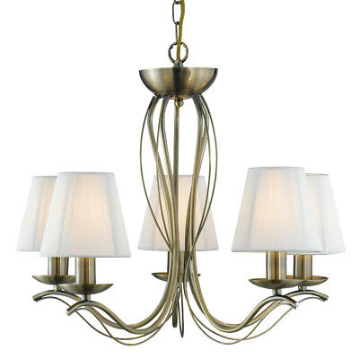 £126.60 • Buy Searchlight 5 Lights Traditional Brass Cream Shades Ceiling Pendant Chandelier