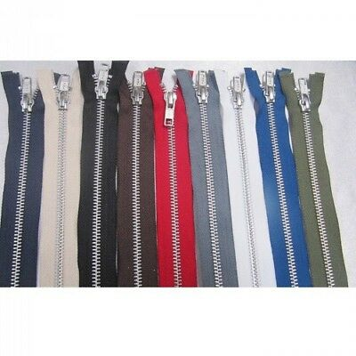 YKK Metal Open Ended Zip Silver Teeth Choice Of Length & Colour  • 3.70£