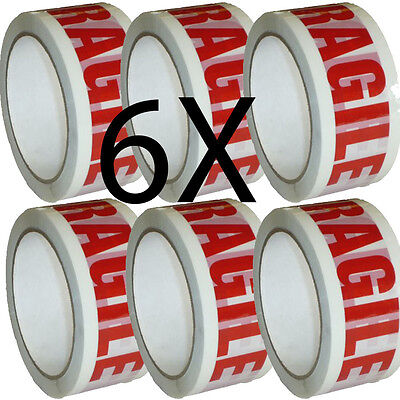 £6 • Buy 6 X FRAGILE PARCEL PACKING TAPE 66m X48mm ROLLS PACKAGING FRAGILE SEALING BOX'