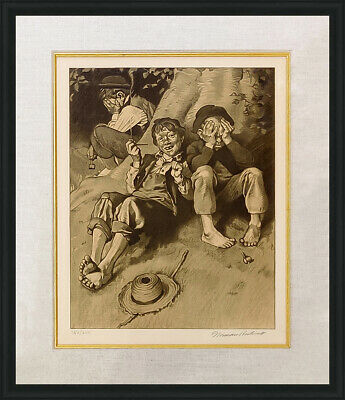 $ CDN2753.47 • Buy Norman Rockwell  Smoking (sepia)  1976 | Rare Hand Signed Print | Tom Sawyer