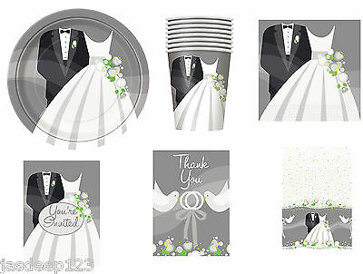Silver Wedding Bride And Groom Party Tableware Decorations Plates Napkins Cups • 1.99£