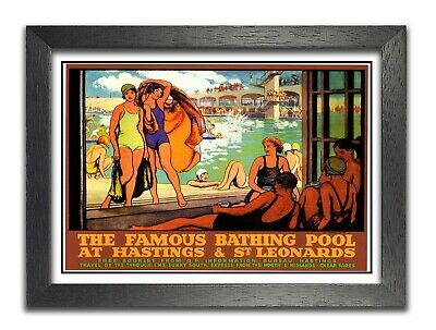 £8.99 • Buy Bathing Pool At Hastings Travel East Sussex Poster Old Advert Swimming Holiday