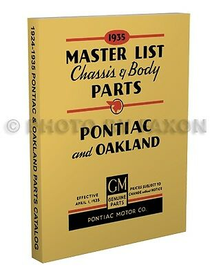 $44 • Buy Pontiac Master Parts Book 1932 1933 1934 1935 Illustrated Catalog With Numbers