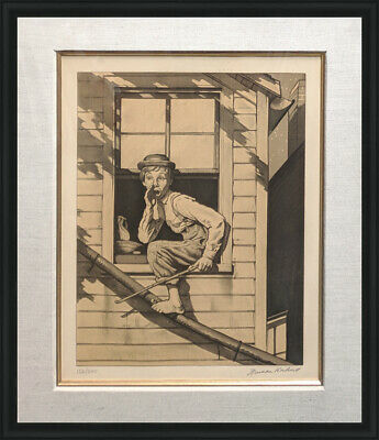 $ CDN2634.74 • Buy Norman Rockwell  Out The Window (sepia)  1976 | Tom Sawyer | Rare Signed Print