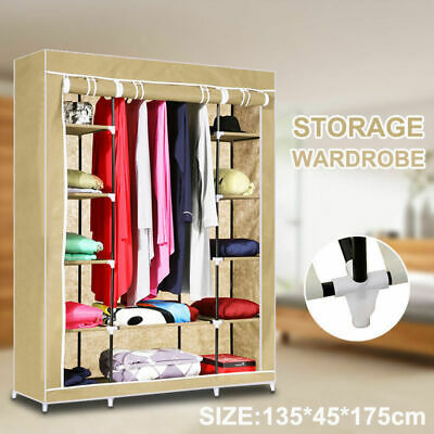 AU29.90 • Buy Large Space Storage Portable Bedroom Double Wardrobe Stable Easy Assemble AU