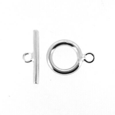 £3.39 • Buy 9mm STERLING SILVER TOGGLE + BAR JEWELLERY CLASP FOR CHAIN BRACELET OR NECKLACE