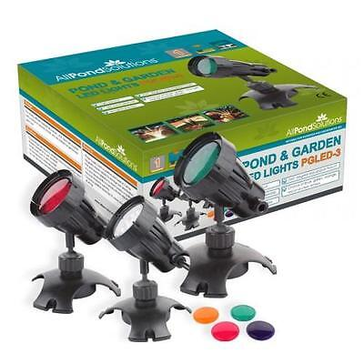 £33.59 • Buy Underwater Submersible Pond And Garden Light Set Of 3 LED Lights And Lenses