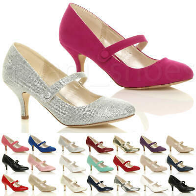 Womens Ladies Low Mid Heel Mary Jane Strap Work Party Court Shoes Pumps Size • 19.99£