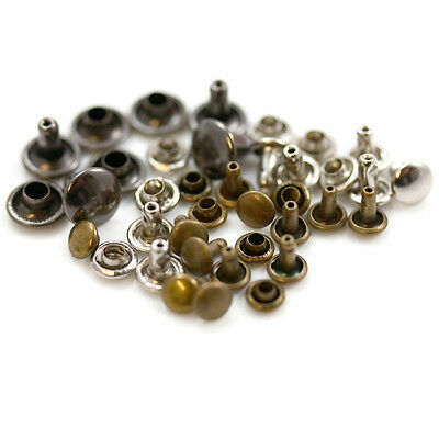 Single & Double Cap Rivets *4 Colours & 8 Sizes* Leather Craft Stud Repairs • 1.94£