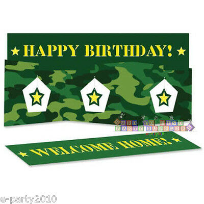 $2.89 • Buy MILITARY CAMOUFLAGE STAND UP CENTERPIECE ~ Birthday Party Supplies Green Stars