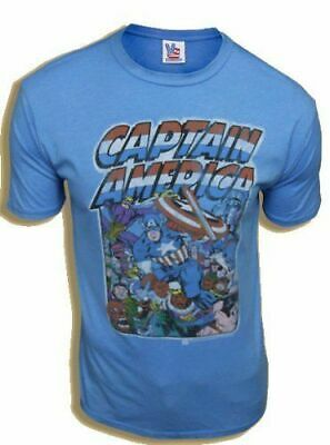 £22.69 • Buy Classic Marvel Comic Book Captain America Crowd Cool Blue Adult T-shirt Tee