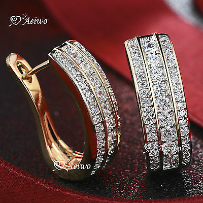 AU24.99 • Buy 18k Yellow White Gold Gf Huggies Made With Swarovski Crystal Earrings Fashion
