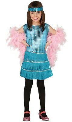 £16.99 • Buy Girls Teal Sequinned 1920s Charleston Flapper Fancy Dress Costume Outfit