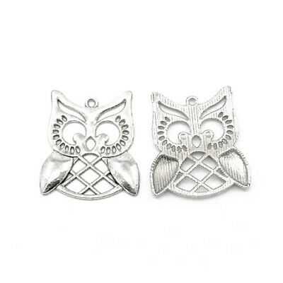 Owl Charm/Pendant Tibetan Antique Silver 31mm  6 Charms Accessory DIY Jewellery • 2.69£
