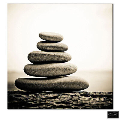 Bathroom Pebbles Tranquil  BOX FRAMED CANVAS ART Picture HDR 280gsm • 14.99£