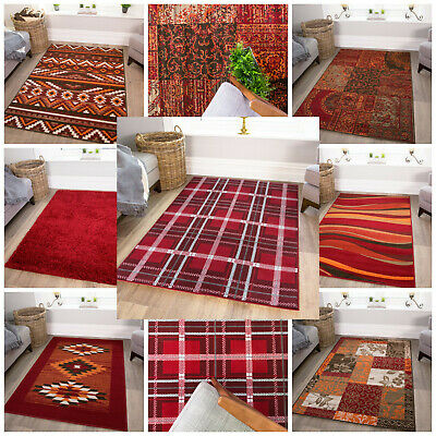 Modern Red Living Room Rugs Small Large Geometric Bedroom Mats Soft Carpet Rug • 49.95£