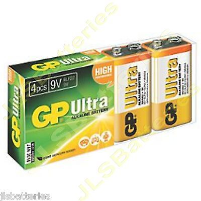 4 X GP ULTRA 9V Batteries MN1604 6LR61 PP3 BLOCK 6LF22 ALKALINE • 5.69£