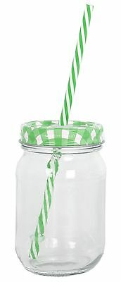 Clear Glass Drinking Jar With Coloured Lid And Straw ~ Purple Lid • 6.09£